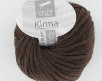 wool soft winter yarn KINNA brown color No. 42 100% wool white horse