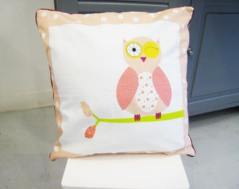 Baby Cushion cover 40 x 40 cm white and pink orange OWL pattern