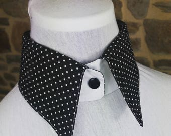 Cotton black white dots reversible white shirt collar