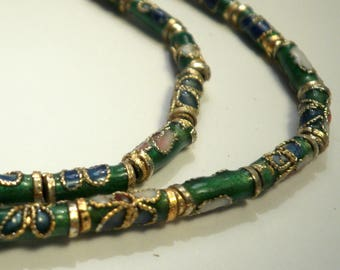 5 cloisonne beads tube Asian 9 x 3 mm
