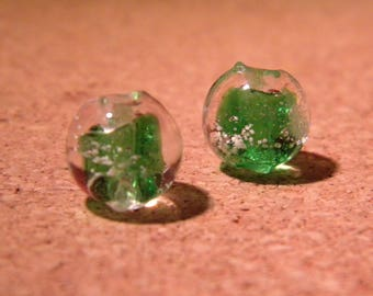 3 10 mm - dark glass lampwork beads - green-PF35