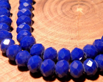 "20 faceted glass beads - 6 mm - way ""jade"" - blue night - PG123 3"