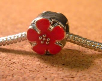 bead charm European - style pandor@-11 mm - European bead - glazed - cherry blossom red - C56