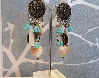 Tassel and Pearl clip earring
