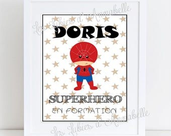 """Affiche A4 pour chambre d'enfant """"SUPERHERO en formation"""" Spiderman PERSONNALISABLE"""