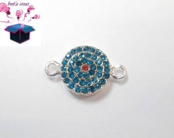 1 round connector rhinestone turquoise and Red size 2.5 x 1.5 cm