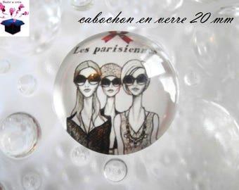 1 cabochon clear 20mm miss Parisian theme