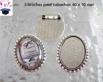 3 supports silver brooch antique cabochon 40 x 30 mm