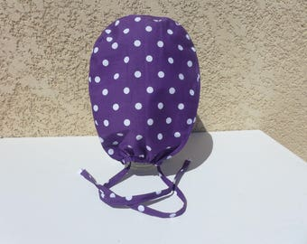 "Hat, Cap, hat block, surgical cap, surgical, medical, paramedic, cotton white ""dots"" on the Eggplant Purple background"