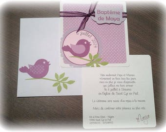 Personalized purple bird theme baptism invitation