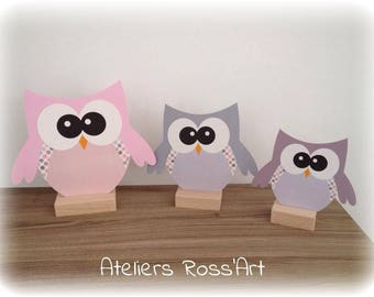 Gray and pink owls - owls TIO christening table decoration