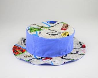 Child's hat reversible cotton - roads 52 cm