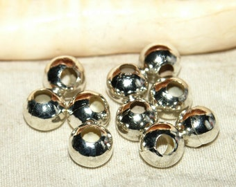 Silver metal beads X 10 balls nickel free