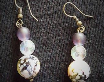 Earrings bronze pendant frame three purple beads