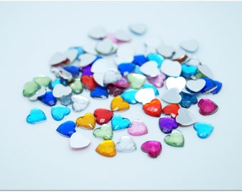 50 multicolored beveled heart cabochons