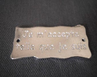 "Message plate 30 mm inscription ""I accept myself as I am"" laser-engraved and plated silver"