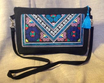 Clutch bag Thai embroidery and Black canvas.