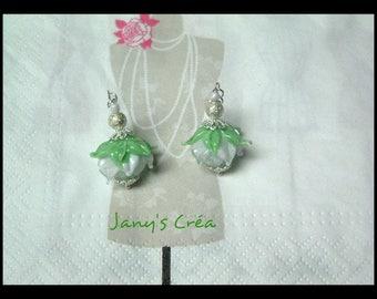 Handspun Lampwork flower bead earrings