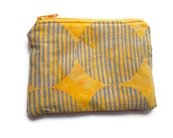 Batik Fabric Coin Purse, Yellow and Gray, Cards Case, Make Up Pouch, Coupon Holder, Small Necessities Bag, Zippered and Fully Lined
