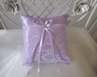 wedding ring pillow purple satin and lace pillow
