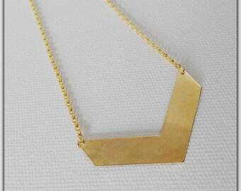 Chevron, geometric, minimalist necklace gold necklace