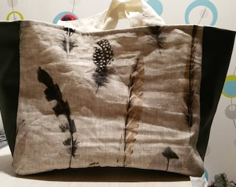 Feathers pattern linen fabric tote bag