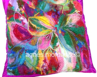 "Cushion cover ""Wildflora"" - silk, felted wool felted silk, embroidery - OOAK"