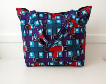 Double multicolored African fabric tote bag