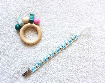 Blue and mustard cotton pacifier clip