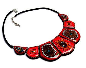 Necklace dark red creative.