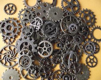 Set of 100 watch gears, steampunk, bronze color.