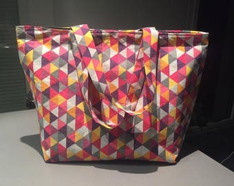 Large graphic patterned cotton tote
