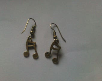 Bronze music note earrings