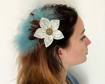 Different feathers and fabric flower Barrette
