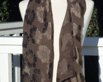 WOMEN Brown viscose silk scarf designer linen ' eva