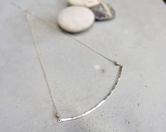 """Ascan"" Choker necklace contemporary hammered silver and pearls"