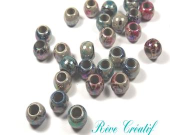 50pcs Perles 8mm Rondes Multicolores AB en Acrylique