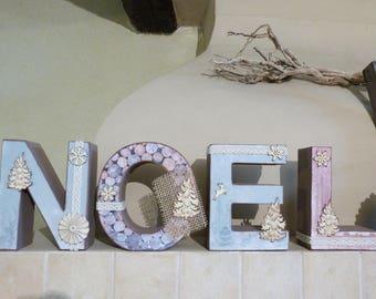 "Word ""NOEL"" in 3D, decorated"