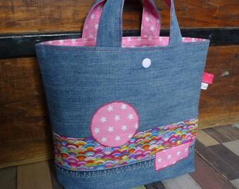 Pink little dominant recycled denim tote bag