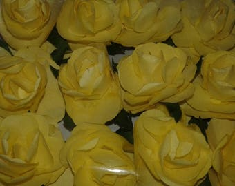 12 3 cm yellow paper flowers