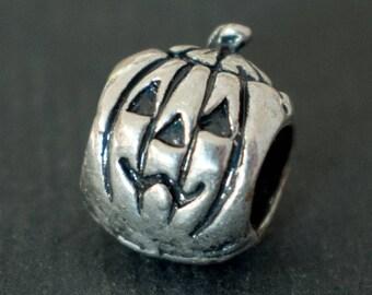 1 bead spacer large hole pumpkin halloween silver 14 mm