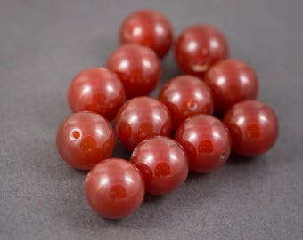 Set of 2 pcs - round beads • carnelians, agates • orange • 18mm