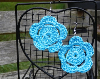 Dark Turquoise Crocheted Large Flower Earrings.