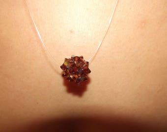 Pendant Necklace with Brown swarovski bead.