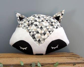 Raccoon grey triangles decorative pillow