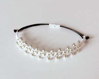 Beaded Macrame Bracelet, White, Silver, Black, Jewellery