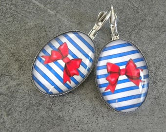 Silver with Navy cabochon earrings