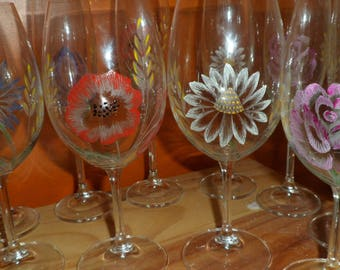 6 wine glasses engraved on glass flowers