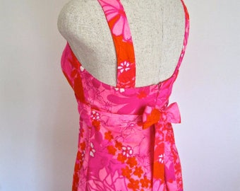 S M 60s Maxi Sundress by Two Potato Laguna Beach California Floral Pinks Orange Hawaii Tiki Style Small Medium