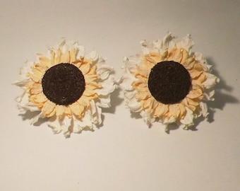 2 FLOWER CLIPS DECORATION 12CM WHITE CURTAIN ACCESSORIES